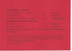 lidmaatschapskaart ijsclub wissenkerke